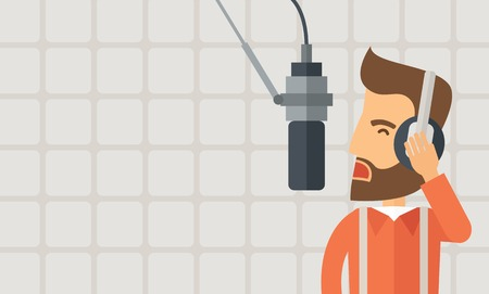 commentator: A caucasian radio DJ working in a radio station with headphone and microphone raising his voice. A Contemporary style with pastel palette, soft beige background. Vector flat design illustration. Horizontal layout with text in left side. Illustration