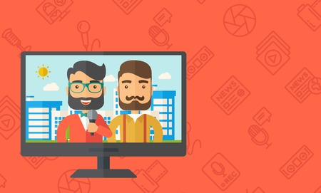 newsreader: A dialog with two caucasian newscaster in a televesion. Vector flat design illustration. Horizontal layout with text sapce in right side. Illustration