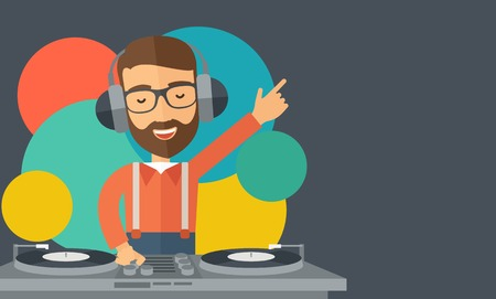 A caucasian disc jockey with headphone mixing music inside the studion room. A contemporary style with pastel palette black tinted and colorful round background. Vector flat design illustration. Horizontal layout with text space in right side.