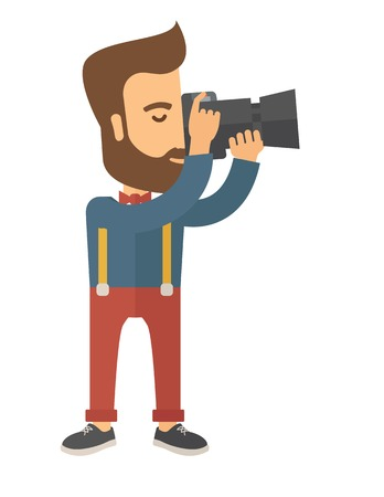 A Caucasian photographer taking a picture with the trees under the sun. A Contemporary style. Vector flat design illustration isolated white background. Vertical layout