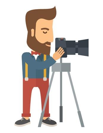 사진 작가 서서 사진을 찍을 스탠드와 함께 자신의 카메라를 준비. 현대적인 스타일. 벡터 평면 디자인 일러스트 레이 션 흰색 배경에 고립. 수직 레이 일러스트