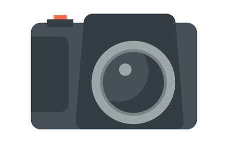 Modern camera. A Contemporary style. Vector flat design illustration isolated white background. Horizontal layout Vectores