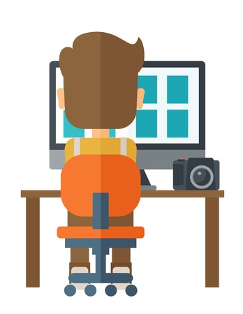 laptop screen: A man facing backward with laptop and camera looking the soft copy of the pictures taken. A Contemporary style. Vector flat design illustration isolated white background. Vertical layout Illustration