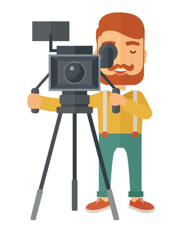videographer: A caucasian videographer taking a video. A Contemporary style. Vector flat design illustration isolated white background. Vertical layout