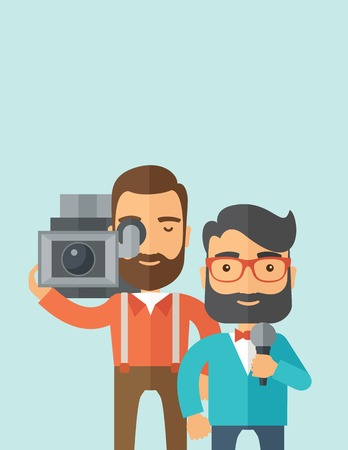 newscaster: A professional caucasian journalist and news reporter with video camera and microphone broadcasting. A Contemporary style with pastel palette, soft blue tinted background. Vector flat design illustration. Vertical layout with text space on top part.