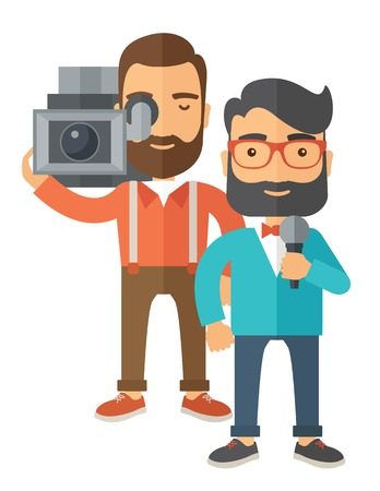 A professional caucasian journalist and news reporter with video camera and microphone broadcasting. A Contemporary style. Vector flat design illustration isolated white background. Vertical layout Illustration