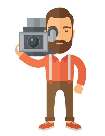 videographer: A caucasian videographer with his video camcorder. A Contemporary style. Vector flat design illustration isolated white background. Vertical layout