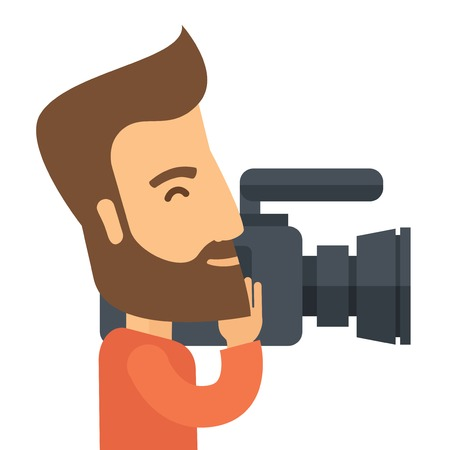 videographer: A caucasian videographer with his video camcorder. A Contemporary style. Vector flat design illustration isolated white background. Square layout.