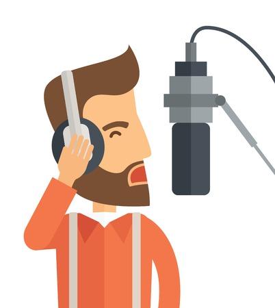 Een Kaukasische radio-dj met koptelefoon en microfoon verhogen van zijn stem. Een eigentijdse stijl. Vector platte ontwerp illustratie geïsoleerd witte achtergrond. Vierkante lay-out.
