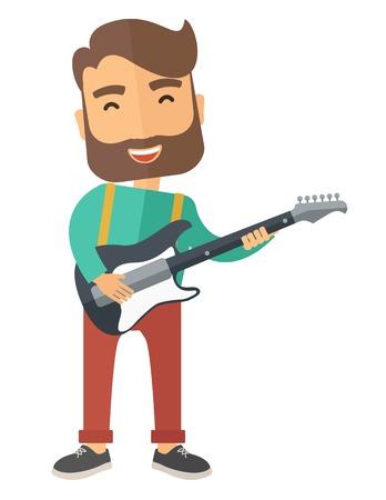 gitara: Śpiewający muzyk gra na gitarze elektrycznej. Nowoczesnym stylu. Wektor płaska ilustracji samodzielnie białe tło. układ pionowy Ilustracja