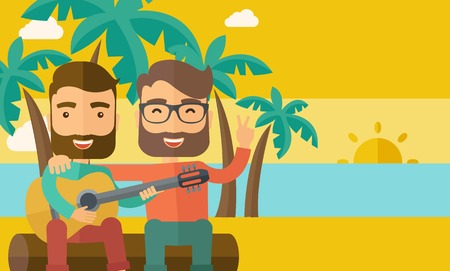 Two caucasian happy playing a guitar at the beach under a palm tree.  Vector flat design illustration. Horizontal layout.
