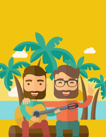 Two caucasian happy playing a guitar at the beach under a palm tree. Vector flat design illustration. Vertical layout with text space on top part.