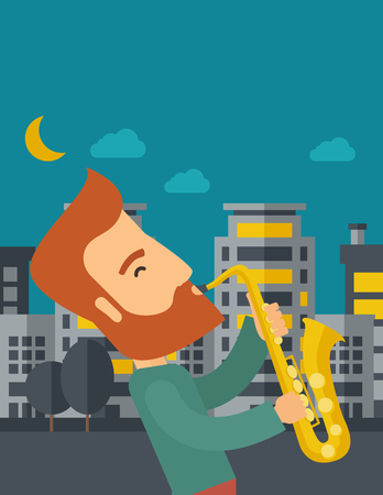 A caucasian saxophonist playing in the streets at night with moon and clouds. Vector flat design illustration. Vertical layout with text space on top part. Illustration