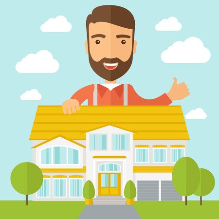housing project: A caucasian happy for the approval of his house structure plan. A Contemporary style with pastel palette, soft blue tinted background with desaturated clouds. Vector flat design illustration. Square layout.
