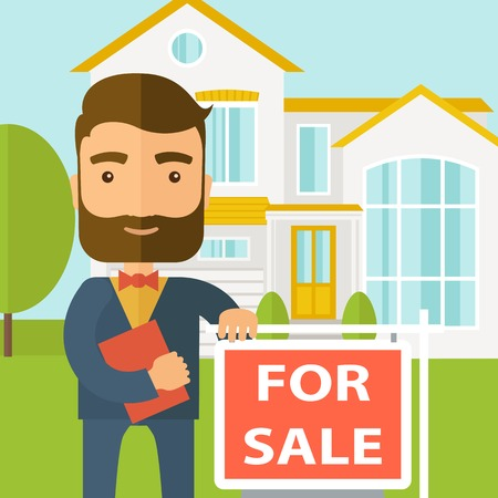 seller: A real estate agent holding the document for the for sale house. A Contemporary style with pastel palette, soft blue tinted background. Vector flat design illustration. Square layout.