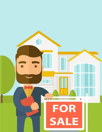 real estate investment: A real estate agent holding the document for the for sale house.  A Contemporary style with pastel palette, soft blue tinted background. Vector flat design illustration. Vertical layout with text sapce on top part. Illustration