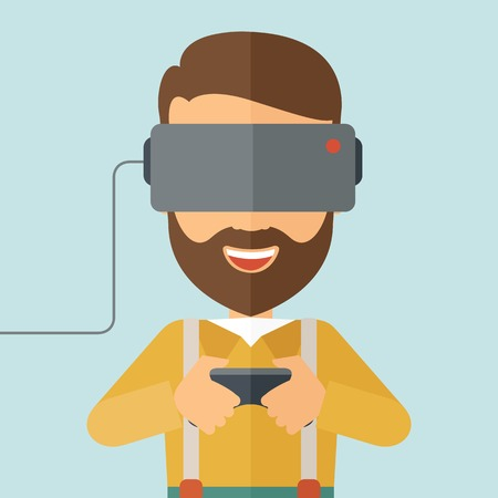 engrossed: A caucasian wearing with virtual reality headset with remote control. A Contemporary style with pastel palette, soft blue tinted background. Vector flat design illustration. Square layout. Illustration