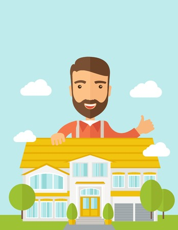 construction firm: A caucasian happy for the approval of his house structure plan. A Contemporary style with pastel palette, soft blue tinted background with desaturated clouds. Vector flat design illustration. Vertical layout with text space on top part. Illustration