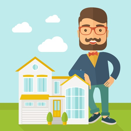 soft sell: A real estate agent poses for use in advertising to sell the house. A Contemporary style with pastel palette, soft blue tinted background with desaturated clouds. Vector flat design illustration. Square layout. Illustration