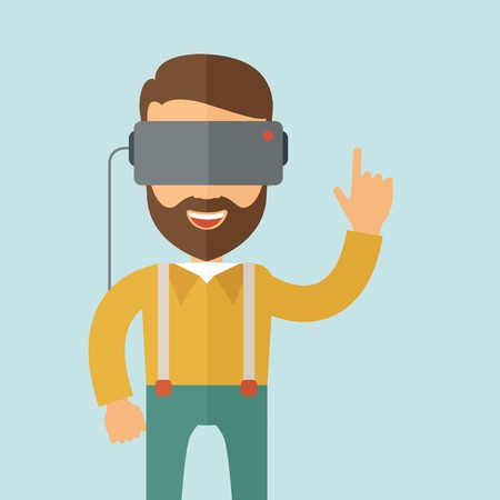 A man with virtual reality headset. Vector flat design illustration. Square layout.