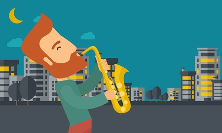 A caucasian saxophonist playing in the streets at night with moon and clouds. Vector flat design illustration. Horizontal layout. Illustration