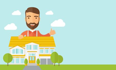 right side: A caucasian happy for the approval of his house structure plan. Vector flat design illustration. Horizontal layout with text sapce in right side.