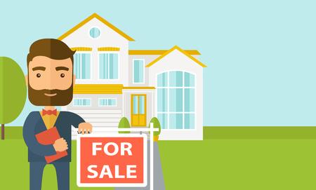 Un agente de bienes raíces que posea el documento para la casa en venta. Vector diseño plano ilustración. Diseño horizontal con espacio de texto en el lado derecho. Foto de archivo - 44409823