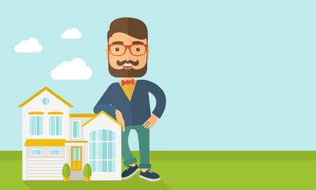 homes for sale: A real estate agent poses for use in advertising to sell the house. Vector flat design illustration. Horizontal layout with text space in right side.