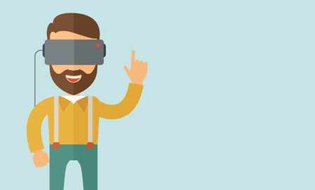 virtual reality: A man with isometric virtual reality headset. A Contemporary style with pastel palette, soft blue tinted background. Vector flat design illustration. Horizontal layout with text space in right side.