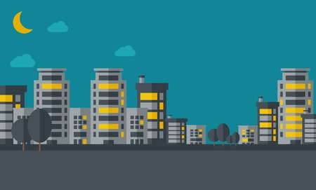 A night scenery of building city with moon. Vector flat design illustration. Horizontal layout.