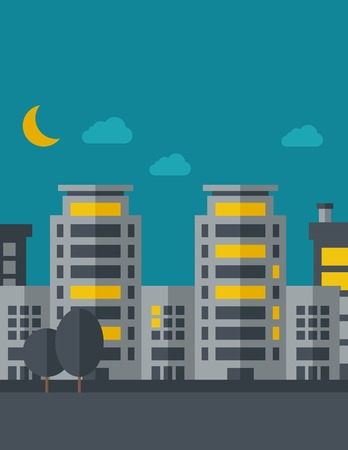 ghost town: A night scenery of building city with moon. Vector flat design illustration. Vertical layout with text space on top part. Illustration