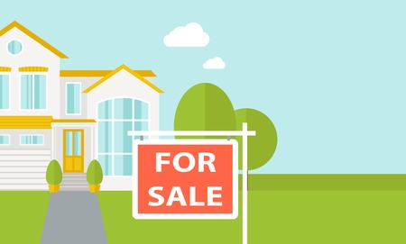 right side: A house with for sale placard.  Vector flat design illustration. Horizontal layout with text space in right side. Illustration