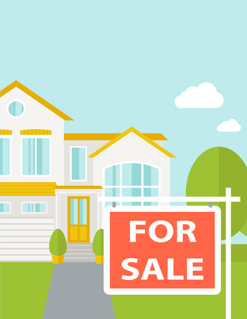 A house with for sale placard. Vector flat design illustration. Vertical layout with text space on top part.