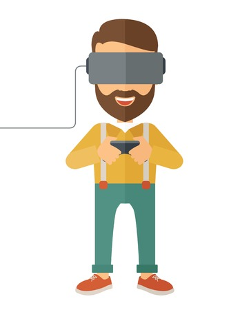 engrossed: A caucasian wearing a virtual relaity headset. Vector flat design isolated on white background.