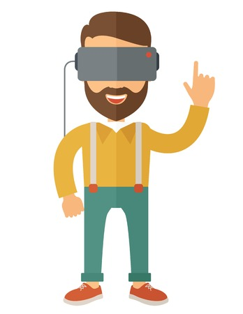 VIRTUAL REALITY: A caucasian wearing a virtual relaity headset. Vector flat design isolated on white background.