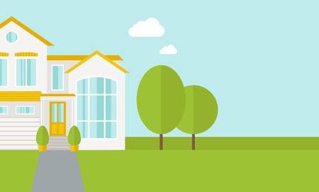 front of house: A big house in spring or summer season with trees. A Contemporary style with pastel palette, soft blue tinted background with desaturated cloud. Vector flat design illustration. Horizontal layout with text space in right side.