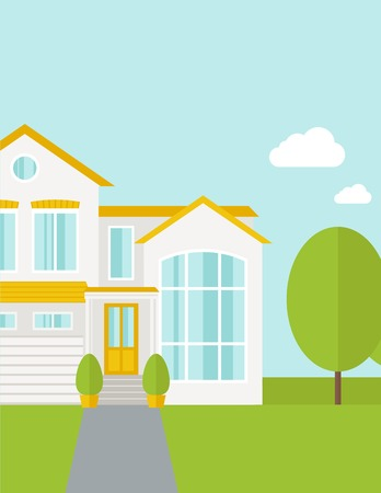 front of house: A big house in spring or summer season with trees. A Contemporary style with pastel palette, soft blue tinted background with desaturated cloud. Vector flat design illustration. Vertical layout with text space on top part.