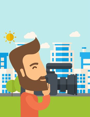 cameraman: A hipster cameraman with video camera taking a video with thye buildings around. A Contemporary style with pastel palette, soft blue tinted background with desaturated clouds. Vector flat design illustration. Vertical layout with text space on top part. Illustration