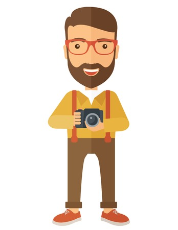 layout: A Caucasian photographer smiling while holding his camera. A Contemporary style. Vector flat design illustration isolated white background. Vertical layout