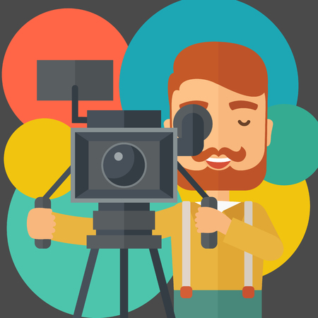 videographer: A caucasian videographer taking a video. A contemporary style with pastel palette black tinted and colorful round background. Vector flat design illustration. Square layout. Illustration