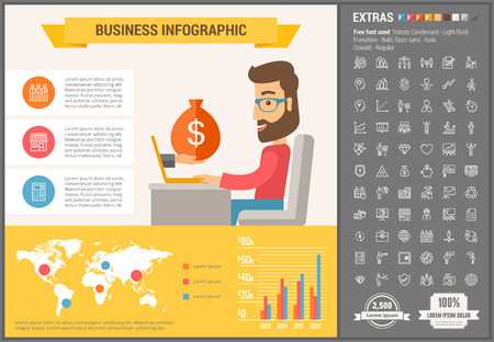 awesome: Business infographic template and elements. The template includes illustrations of hipster men and huge awesome set of thin line icons. Modern minimalistic flat vector design.