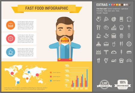 minimal: Fast food infographic template and elements. The template includes illustrations of hipster men and huge awesome set of thin line icons. Modern minimalistic flat vector design.