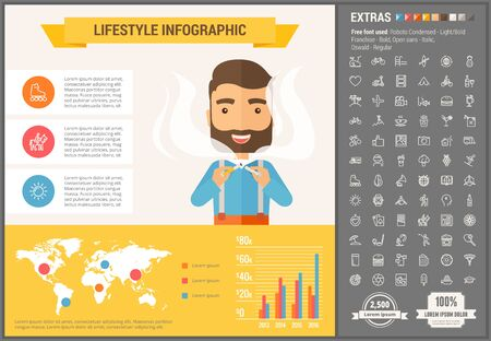 visualize: Lifestyle infographic template and elements. The template includes illustrations of hipster men and huge awesome set of thin line icons. Modern minimalistic flat vector design. Illustration