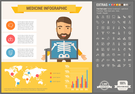 visualize: Medicine infographic template and elements. The template includes illustrations of hipster men and huge awesome set of thin line icons. Modern minimalistic flat vector design.