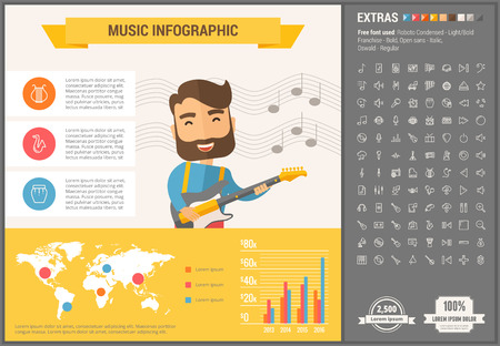 Music infographic template and elements. The template includes illustrations of hipster men and huge awesome set of thin line icons. Modern minimalistic flat vector design.