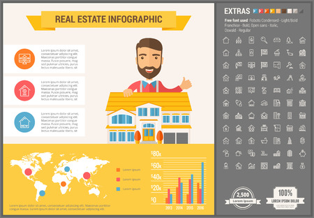 buyers: Real Estate infographic template and elements. The template includes illustrations of hipster men and huge awesome set of thin line icons. Modern minimalistic flat vector design. Illustration
