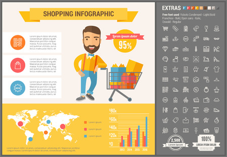 Shopping infographic template and elements. The template includes illustrations of hipster men and huge awesome set of thin line icons. Modern minimalistic flat vector design. Ilustração