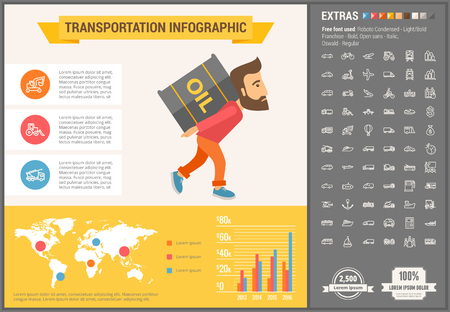 delivery icon: Transportation infographic template and elements. The template includes illustrations of hipster men and huge awesome set of thin line icons. Modern minimalistic flat vector design. Illustration