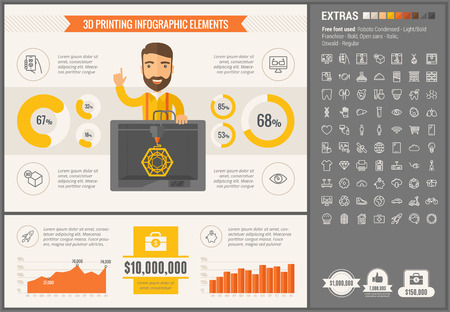 three d: Three D printing infographic template and elements. The template includes illustrations of hipster men and huge awesome set of thin line icons. Modern minimalistic flat vector design.