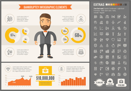 visualize: Business infographic template and elements. The template includes illustrations of hipster men and huge awesome set of thin line icons. Modern minimalistic flat vector design.